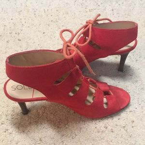 Sole Society red suede sandals
